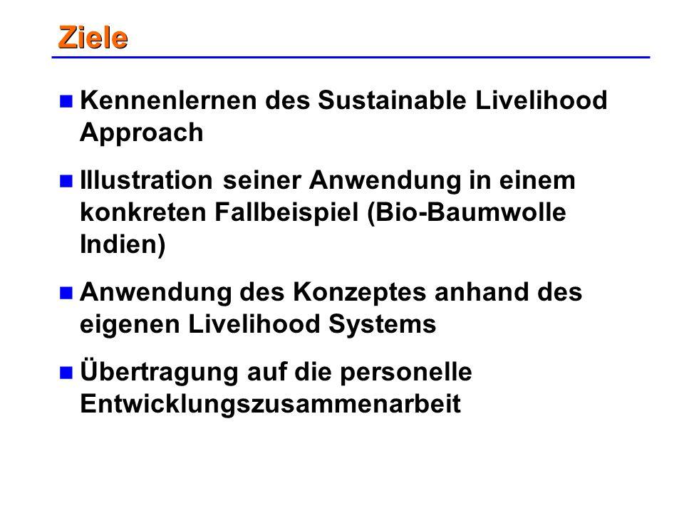 Ziele Kennenlernen des Sustainable Livelihood Approach Illustration seiner Anwendung in einem konkreten Fallbeispiel (Bio-Baumwolle Indien) Anwendung