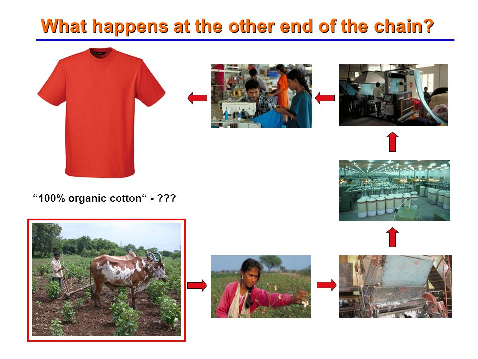 """What happens at the other end of the chain? """"100% organic cotton"""" - ???"""