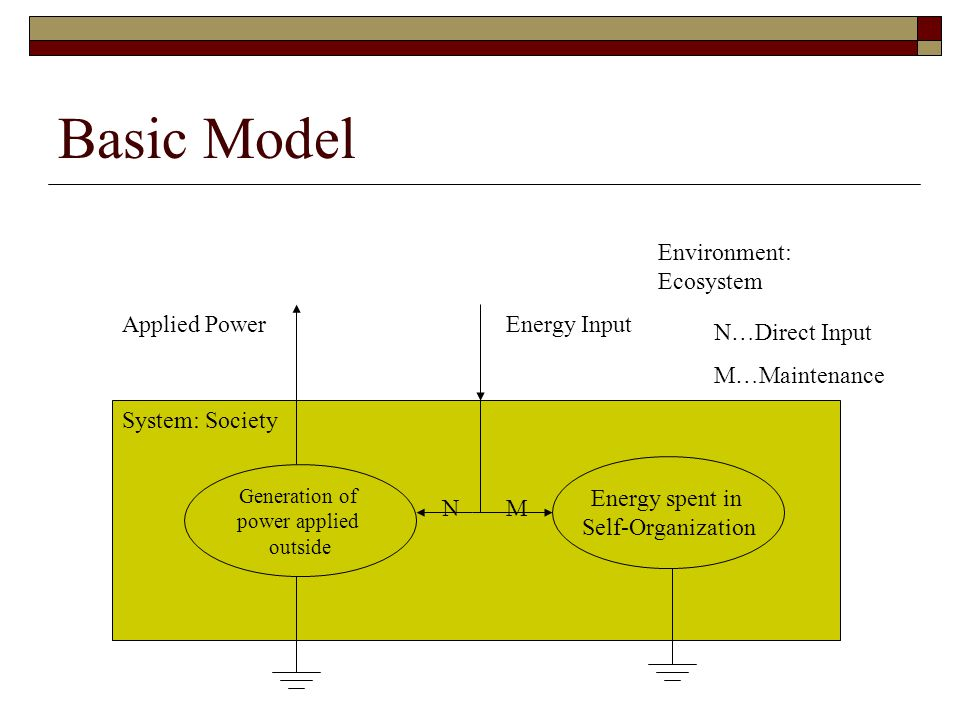 Basic Model Generation of power applied outside Energy spent in Self-Organization NM Applied PowerEnergy Input System: Society Environment: Ecosystem N…Direct Input M…Maintenance