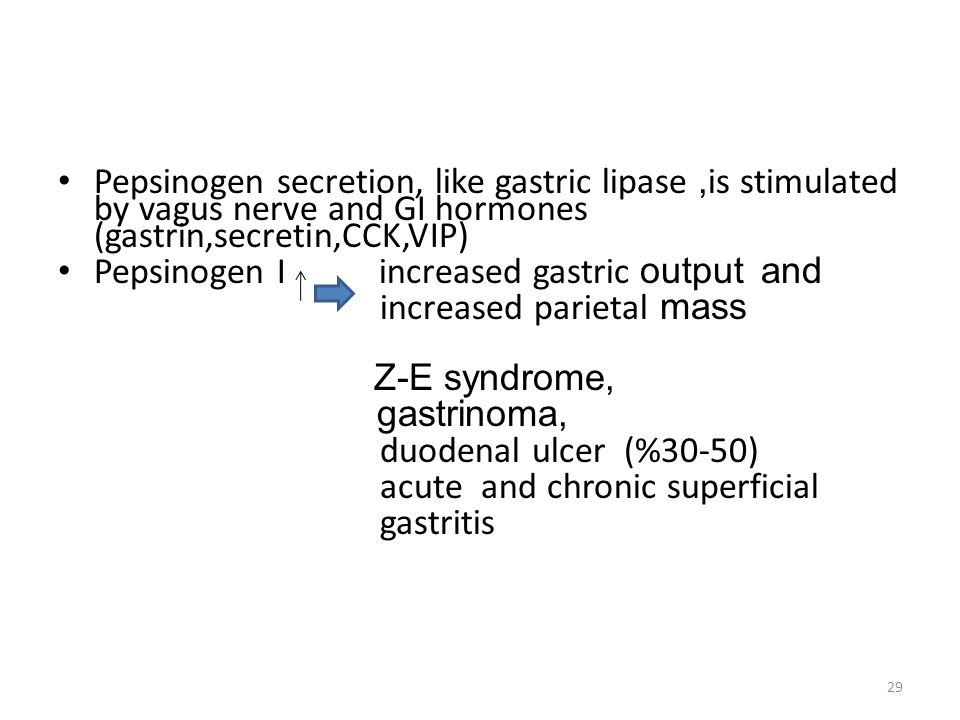 Pepsinogen secretion, like gastric lipase, is stimulated by vagus nerve and GI hormones (gastrin,secretin,CCK,VIP) Pepsinogen I increased gastric output and increased parietal mass Z-E syndrome, gastrinoma, duodenal ulcer (%30-50) acute and chronic superficial gastritis 29