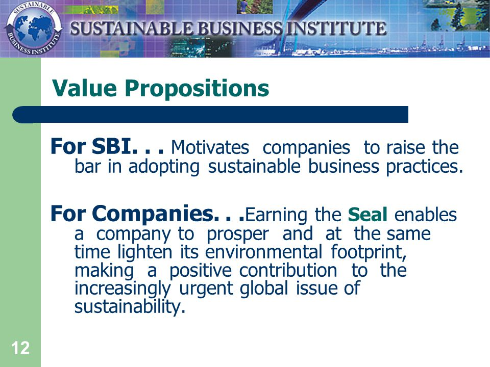 12 Value Propositions For SBI...