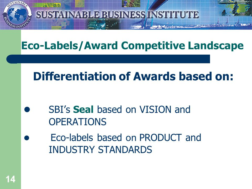 14 Eco-Labels/Award Competitive Landscape Differentiation of Awards based on: SBI's Seal based on VISION and OPERATIONS Eco-labels based on PRODUCT and INDUSTRY STANDARDS