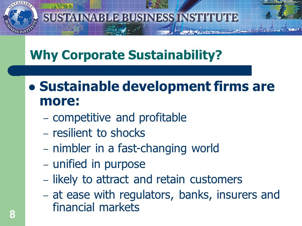 8 Why Corporate Sustainability.