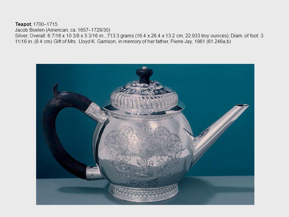 Teapot, 1700–1715 Jacob Boelen (American, ca.