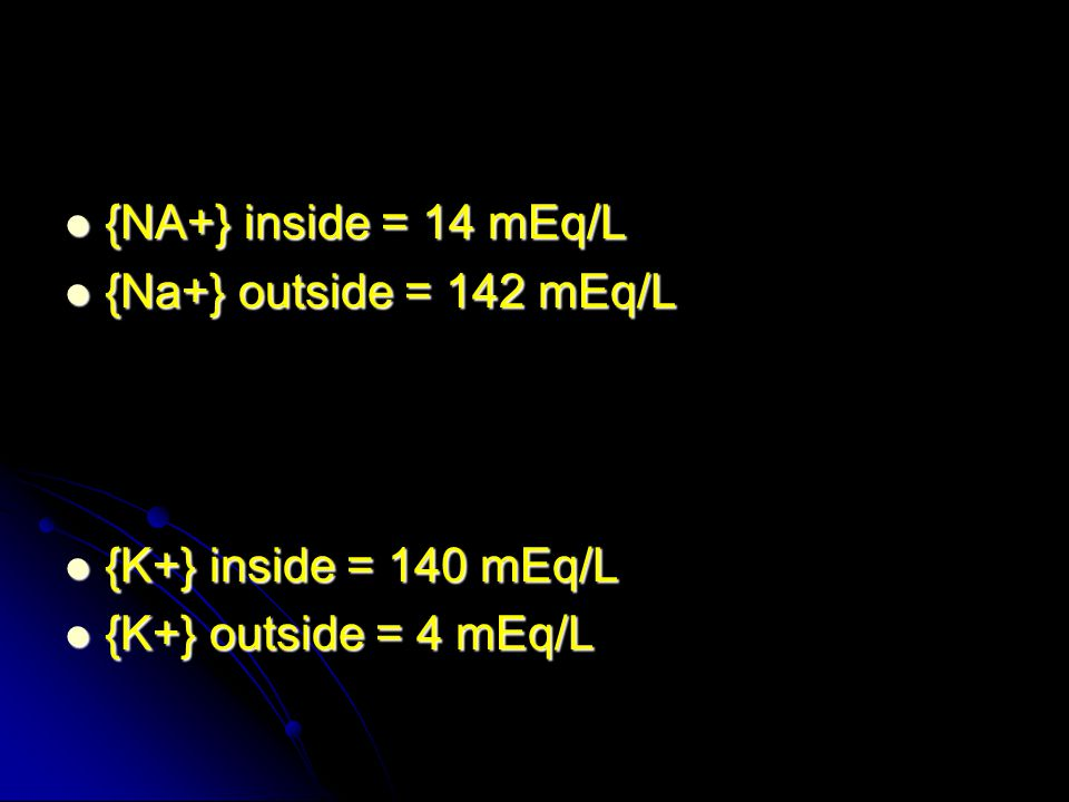 {NA+} inside = 14 mEq/L {NA+} inside = 14 mEq/L {Na+} outside = 142 mEq/L {Na+} outside = 142 mEq/L {K+} inside = 140 mEq/L {K+} inside = 140 mEq/L {K+} outside = 4 mEq/L {K+} outside = 4 mEq/L