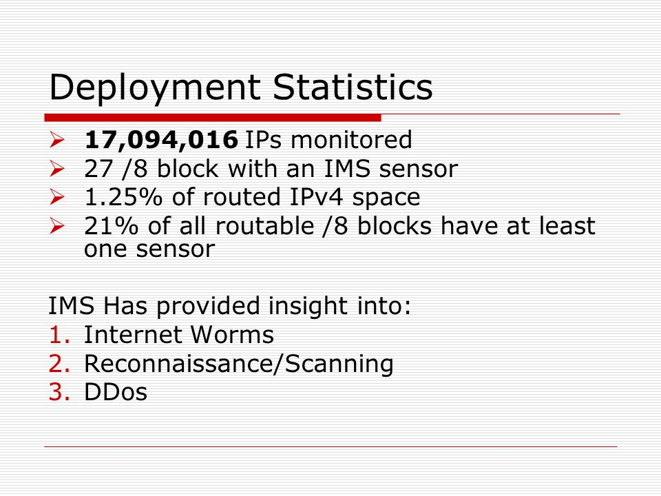 Deployment Statistics  17,094,016 IPs monitored  27 /8 block with an IMS sensor  1.25% of routed IPv4 space  21% of all routable /8 blocks have at