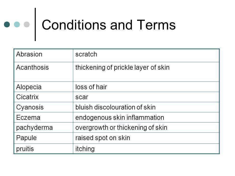 Conditions and Terms Abrasionscratch Acanthosisthickening of prickle layer of skin Alopecialoss of hair Cicatrixscar Cyanosisbluish discolouration of skin Eczemaendogenous skin inflammation pachydermaovergrowth or thickening of skin Papuleraised spot on skin pruitisitching