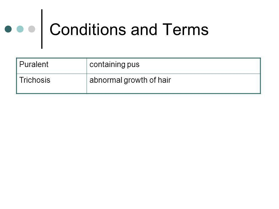 Conditions and Terms Puralentcontaining pus Trichosisabnormal growth of hair