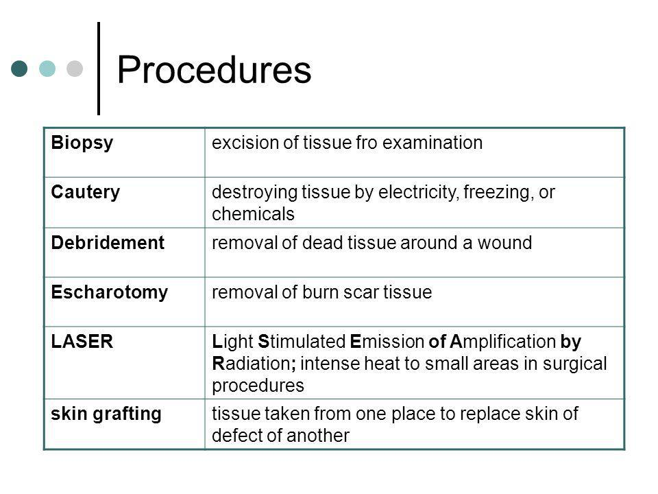 Procedures Biopsyexcision of tissue fro examination Cauterydestroying tissue by electricity, freezing, or chemicals Debridementremoval of dead tissue
