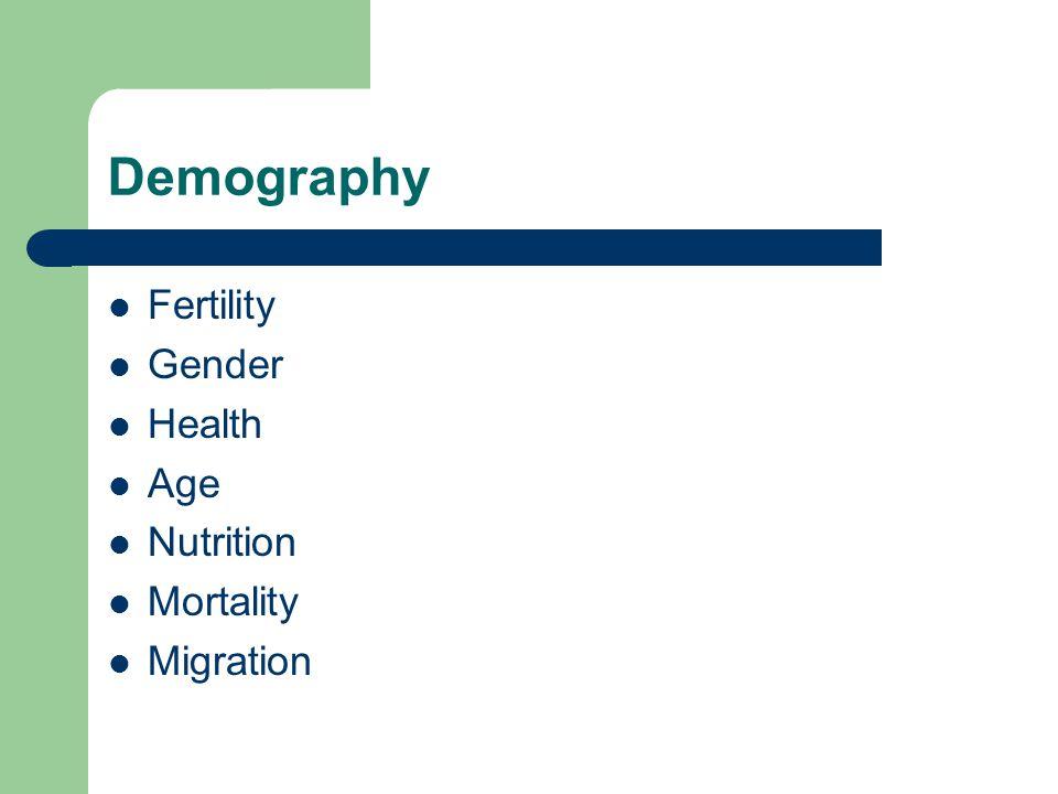 Demography Fertility Gender Health Age Nutrition Mortality Migration