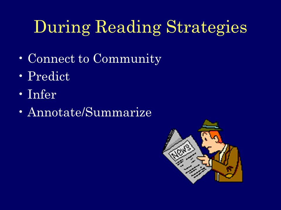 During Reading Strategies Connect to Community Predict Infer Annotate/Summarize