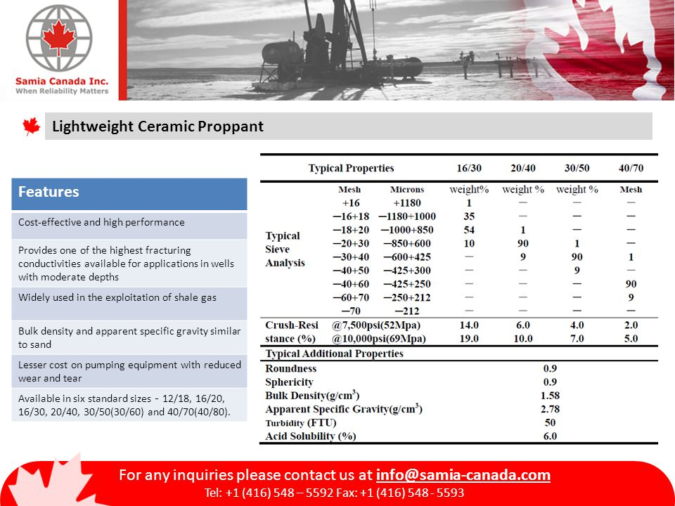 For any inquiries please contact us at info@samia-canada.com Tel: +1 (416) 548 – 5592 Fax: +1 (416) 548 - 5593 Lightweight Ceramic Proppant Features Cost-effective and high performance Provides one of the highest fracturing conductivities available for applications in wells with moderate depths Widely used in the exploitation of shale gas Bulk density and apparent specific gravity similar to sand Lesser cost on pumping equipment with reduced wear and tear Available in six standard sizes - 12/18, 16/20, 16/30, 20/40, 30/50(30/60) and 40/70(40/80).