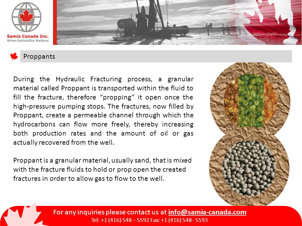 Proppants During the Hydraulic Fracturing process, a granular material called Proppant is transported within the fluid to fill the fracture, therefore propping it open once the high-pressure pumping stops.