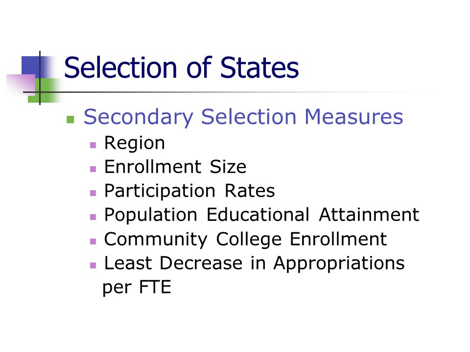 Selection of States Secondary Selection Measures Region Enrollment Size Participation Rates Population Educational Attainment Community College Enrollment Least Decrease in Appropriations per FTE