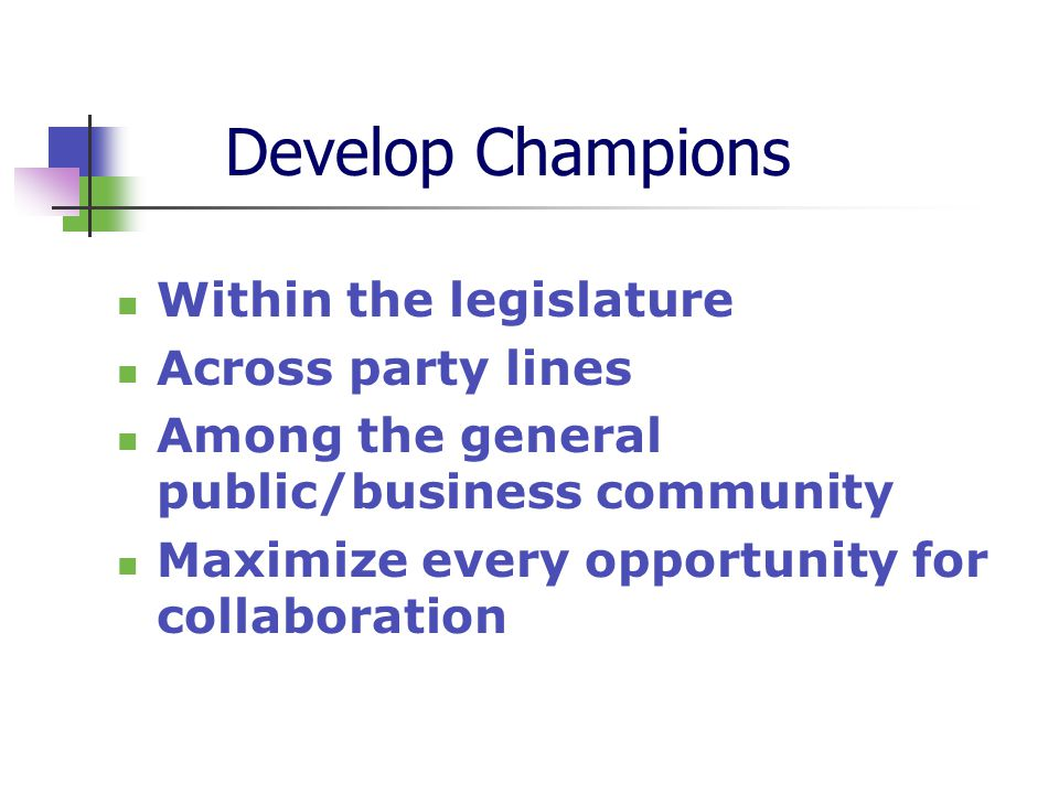 Develop Champions Within the legislature Across party lines Among the general public/business community Maximize every opportunity for collaboration