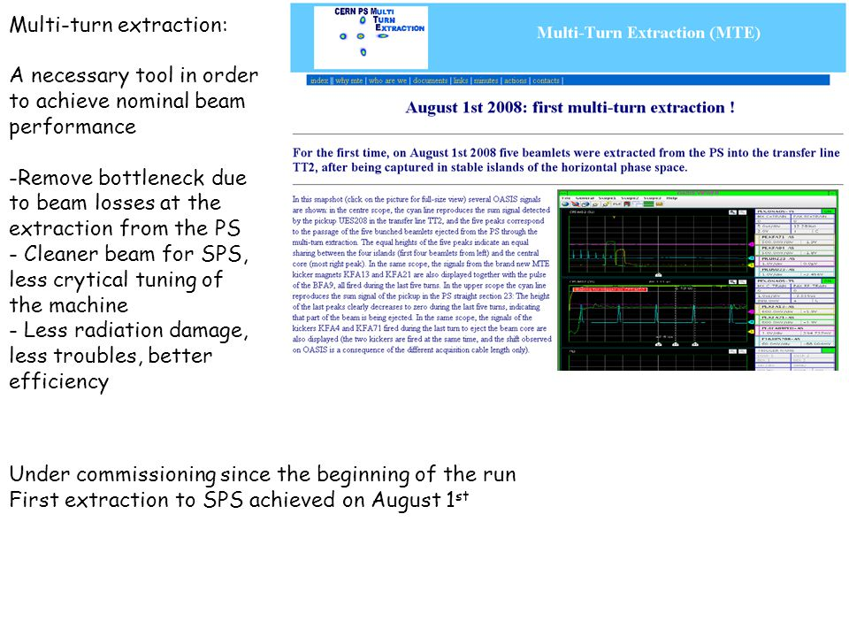 Multi-turn extraction: A necessary tool in order to achieve nominal beam performance -Remove bottleneck due to beam losses at the extraction from the PS - Cleaner beam for SPS, less crytical tuning of the machine - Less radiation damage, less troubles, better efficiency Under commissioning since the beginning of the run First extraction to SPS achieved on August 1 st