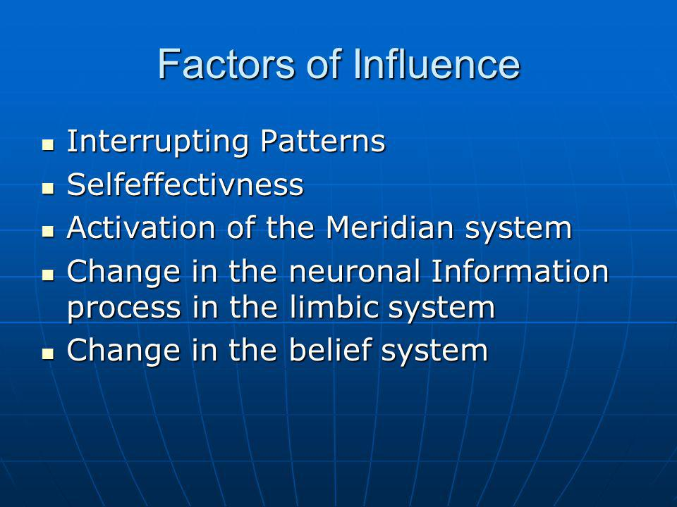 Factors of Influence Interrupting Patterns Interrupting Patterns Selfeffectivness Selfeffectivness Activation of the Meridian system Activation of the