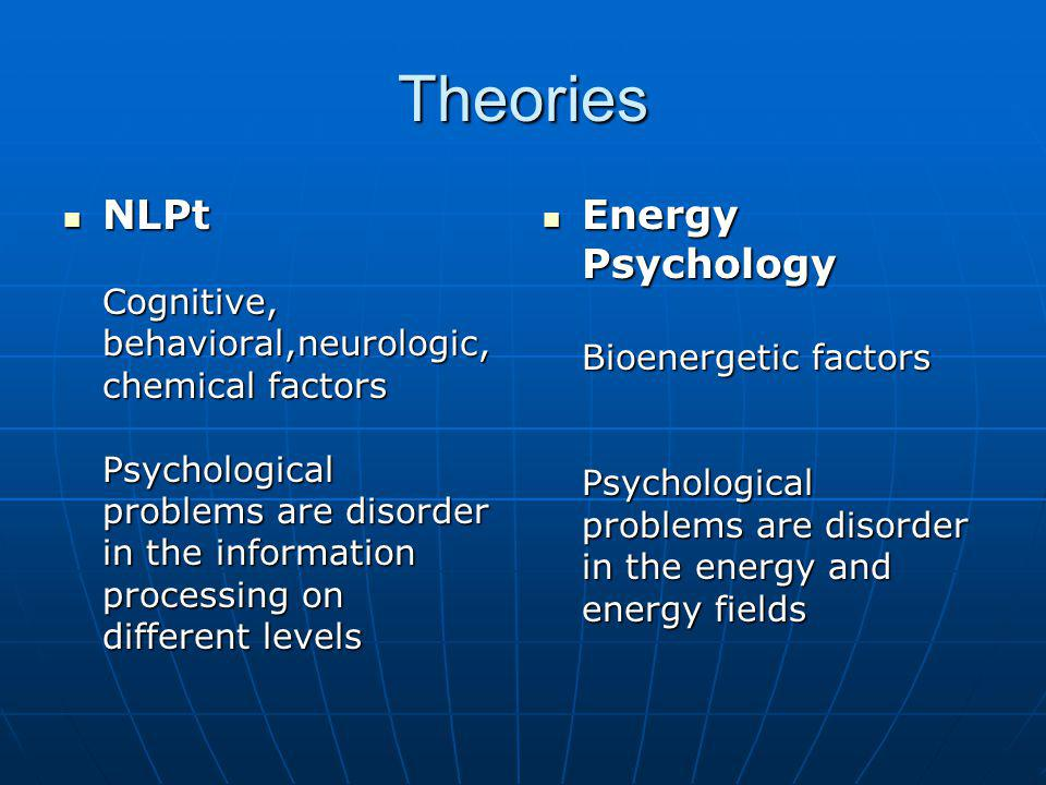 Theories NLPt Cognitive, behavioral,neurologic, chemical factors Psychological problems are disorder in the information processing on different levels