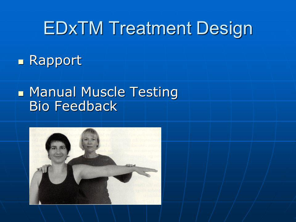 """EDxTM Treatment Design Rapport Rapport Thinking about the problem that is to be treated """"neural activating Thinking about the problem that is to be treated """"neural activating Rating in a SUD (Subjective Units of Disturbance) Scale 0 to 10 """"subjective stress Rating in a SUD (Subjective Units of Disturbance) Scale 0 to 10 """"subjective stress MUD (Muscular Units of Distress) """"energetic stress level MUD (Muscular Units of Distress) """"energetic stress level Pause lock procedure Pause lock procedure Negative Affect Erasing Method Standard Method """"Midline Energy Treatment or individual meridian-based diagnosis and treatment Negative Affect Erasing Method Standard Method """"Midline Energy Treatment or individual meridian-based diagnosis and treatment Test Test 9 Garmut Treatments """"multiple neuronal activation 9 Garmut Treatments """"multiple neuronal activation Test Test Future pace Future pace SUD, Test SUD, Test"""