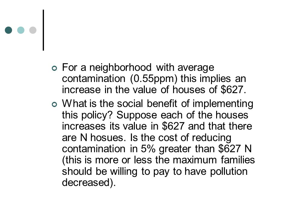For a neighborhood with average contamination (0.55ppm) this implies an increase in the value of houses of $627.