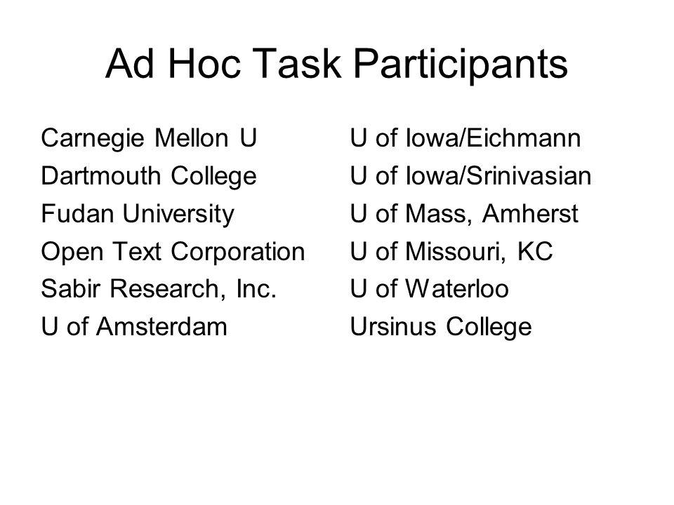 Ad Hoc Task Participants Carnegie Mellon U Dartmouth College Fudan University Open Text Corporation Sabir Research, Inc. U of Amsterdam U of Iowa/Eich