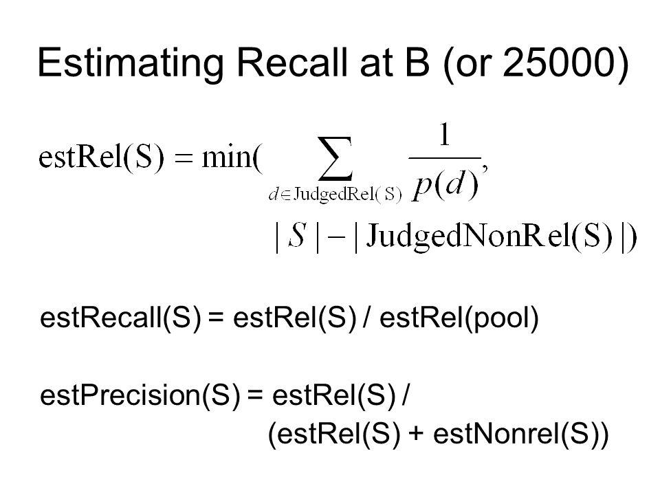 Estimating Recall at B (or 25000) estRecall(S) = estRel(S) / estRel(pool) estPrecision(S) = estRel(S) / (estRel(S) + estNonrel(S))