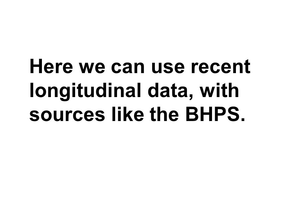Here we can use recent longitudinal data, with sources like the BHPS.