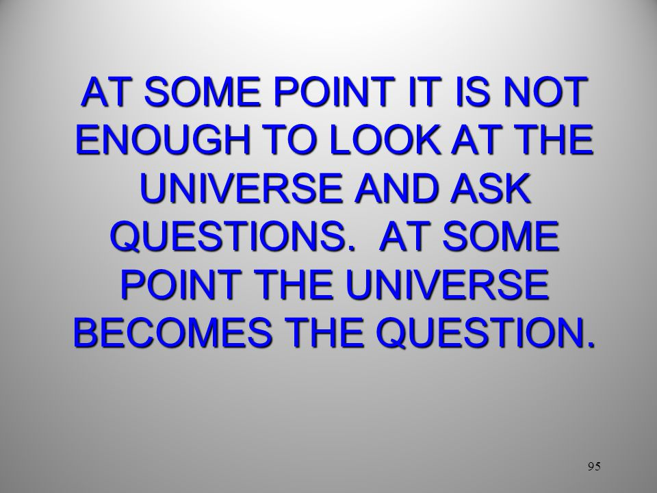 95 AT SOME POINT IT IS NOT ENOUGH TO LOOK AT THE UNIVERSE AND ASK QUESTIONS.