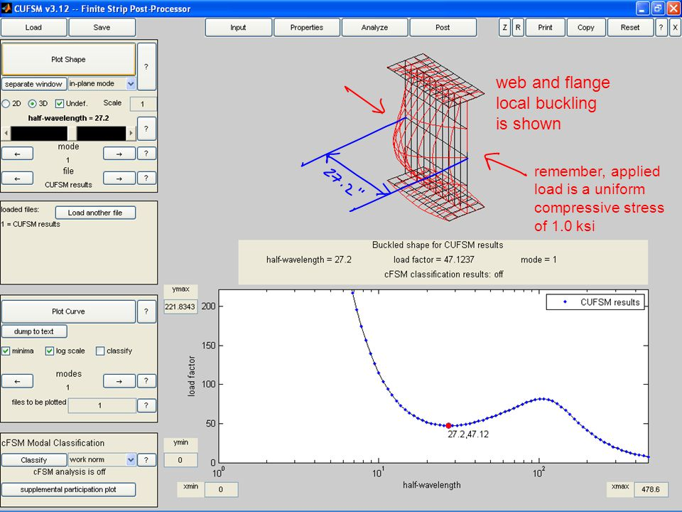 web and flange local buckling is shown remember, applied load is a uniform compressive stress of 1.0 ksi