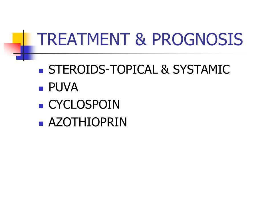 TREATMENT & PROGNOSIS STEROIDS-TOPICAL & SYSTAMIC PUVA CYCLOSPOIN AZOTHIOPRIN