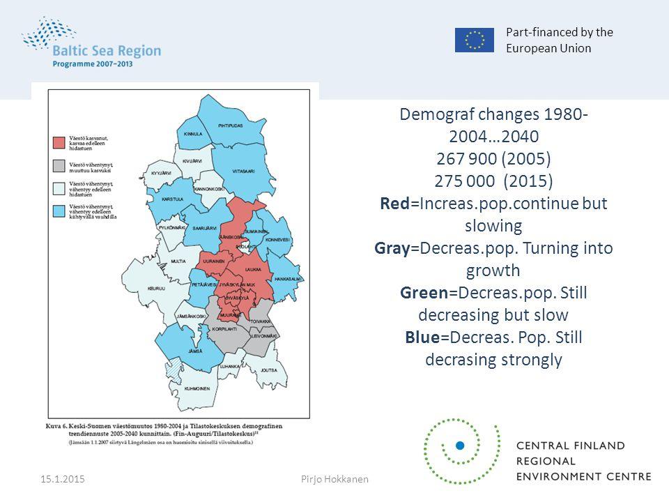 Demograf changes 1980- 2004…2040 267 900 (2005) 275 000 (2015) Red=Increas.pop.continue but slowing Gray=Decreas.pop.