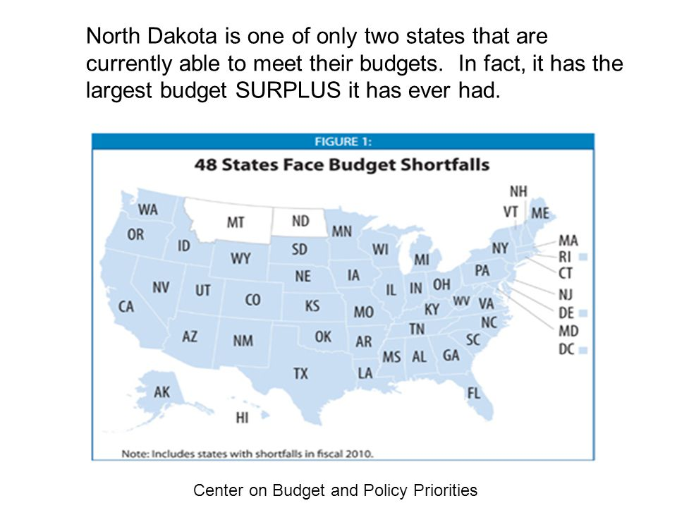 Center on Budget and Policy Priorities North Dakota is one of only two states that are currently able to meet their budgets.