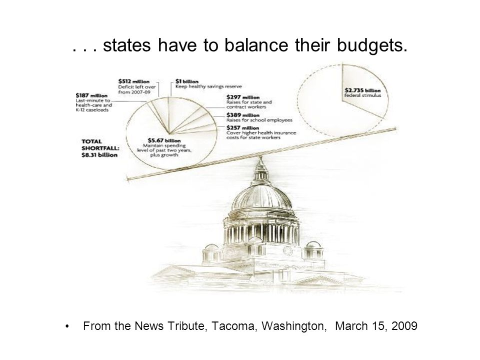 ... states have to balance their budgets. From the News Tribute, Tacoma, Washington, March 15, 2009