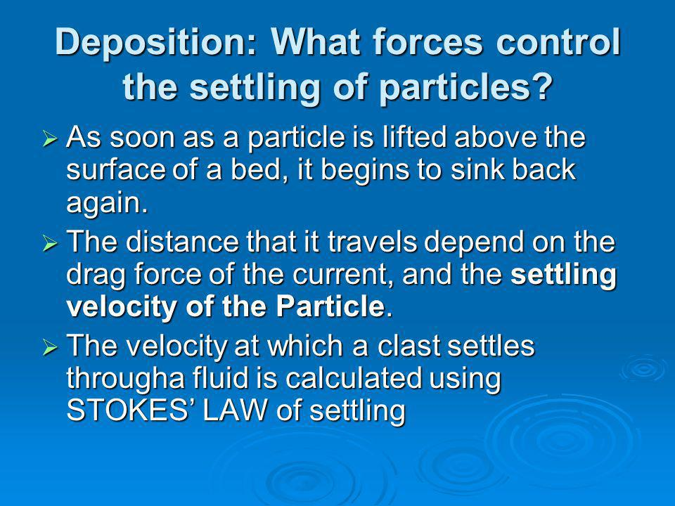 Deposition: What forces control the settling of particles.