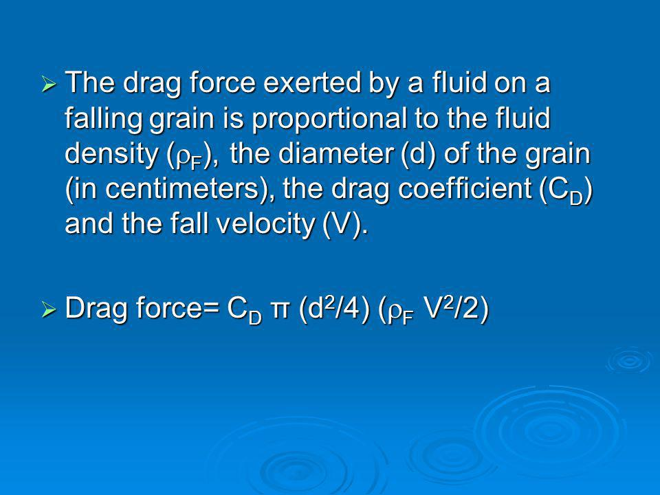  The drag force exerted by a fluid on a falling grain is proportional to the fluid density (  F ), the diameter (d) of the grain (in centimeters), the drag coefficient (C D ) and the fall velocity (V).