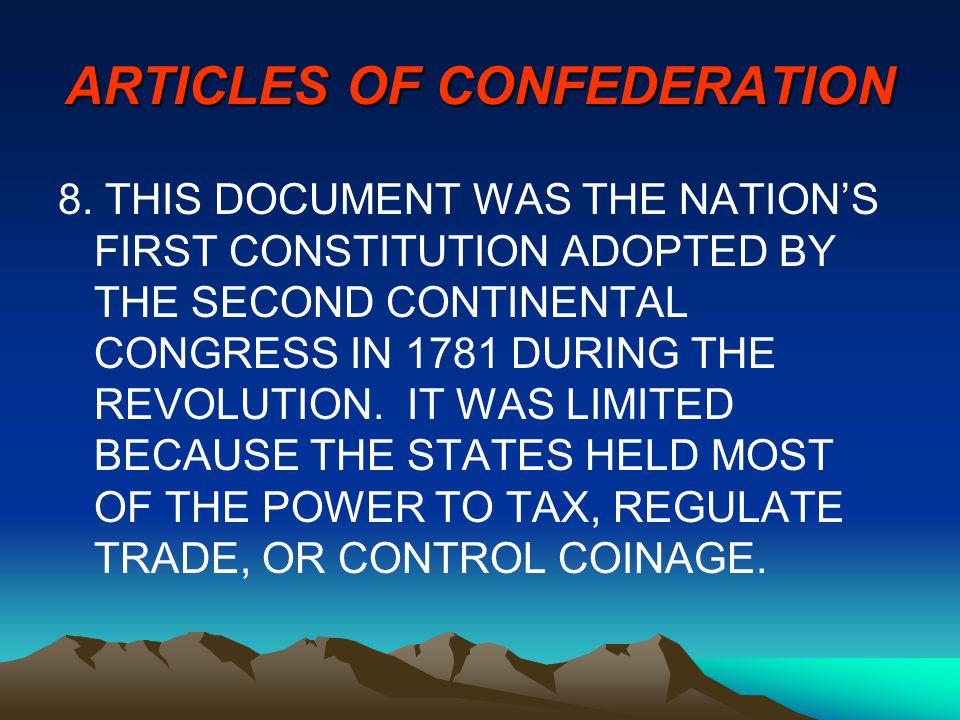 ARTICLES OF CONFEDERATION 8.