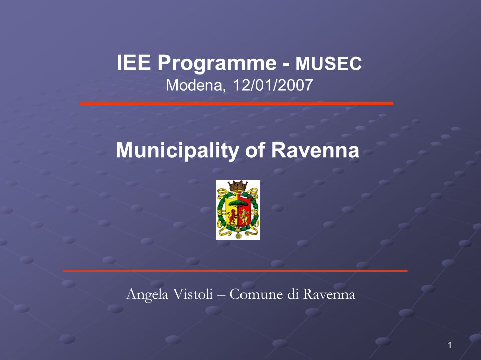 2 Municipal area of Ravenna Superficie 654,88 kmq Population 149.084 inhabitants Geographical localization The municipal area of Ravenna is located in the Emilia-Romagna, region of Northern Italy, and spreads over a large area (it is the second largest municipal area after Rome).