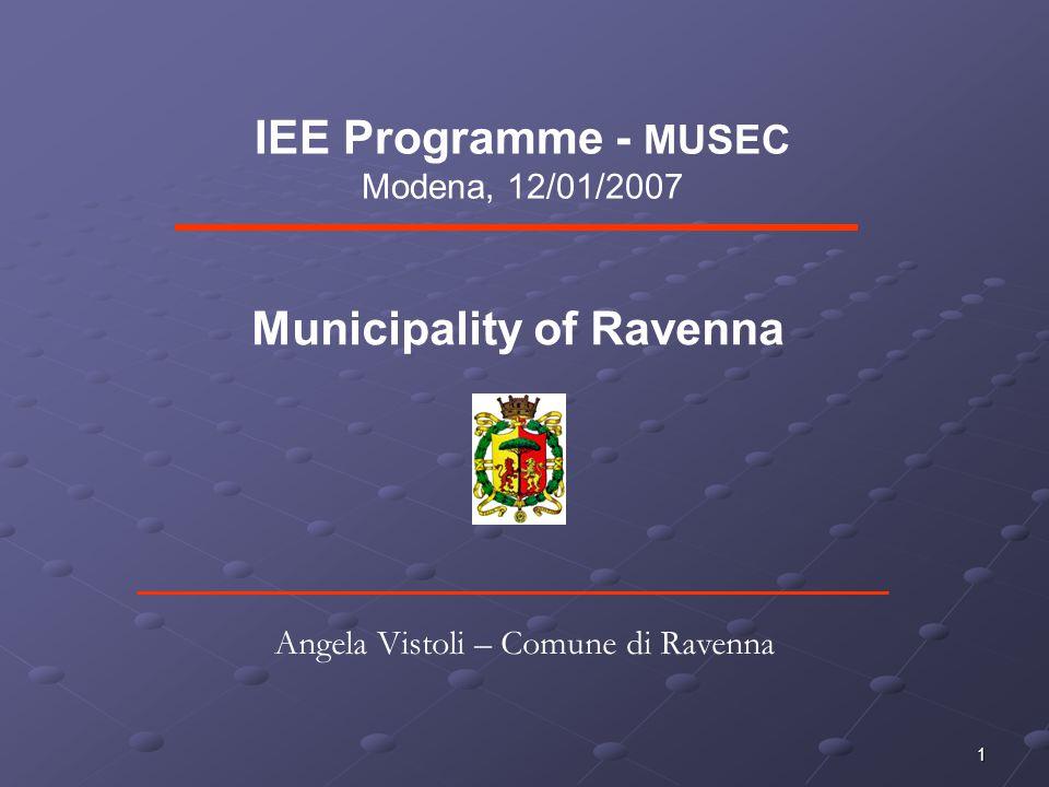 1 IEE Programme - MUSEC Modena, 12/01/2007 Municipality of Ravenna Angela Vistoli – Comune di Ravenna