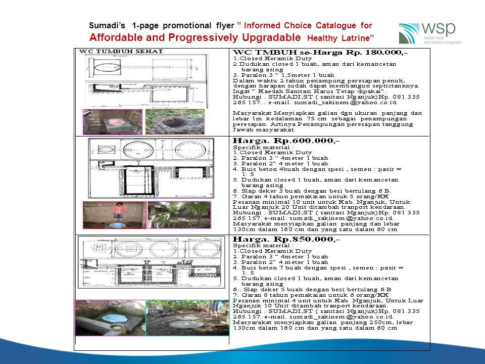 """Sumadi's 1-page promotional flyer """" Informed Choice Catalogue for Affordable and Progressively Upgradable Healthy Latrine"""""""