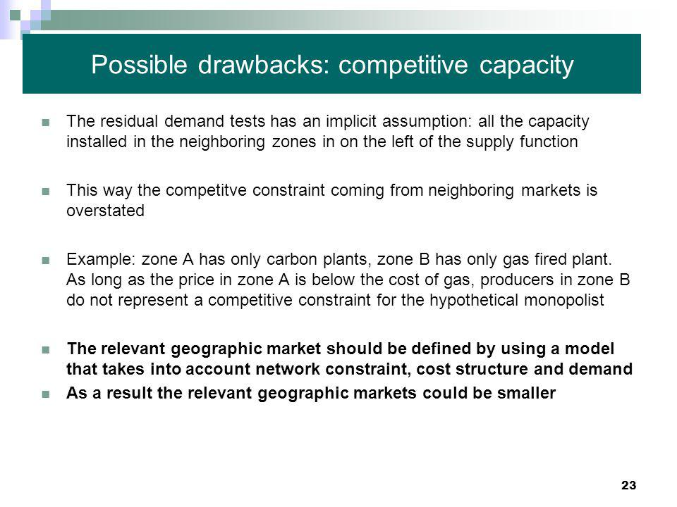 23 Possible drawbacks: competitive capacity The residual demand tests has an implicit assumption: all the capacity installed in the neighboring zones in on the left of the supply function This way the competitve constraint coming from neighboring markets is overstated Example: zone A has only carbon plants, zone B has only gas fired plant.