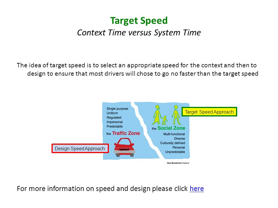 The idea of target speed is to select an appropriate speed for the context and then to design to ensure that most drivers will chose to go no faster than the target speed For more information on speed and design please click herehere Target Speed Context Time versus System Time Design Speed Approach Target Speed Approach