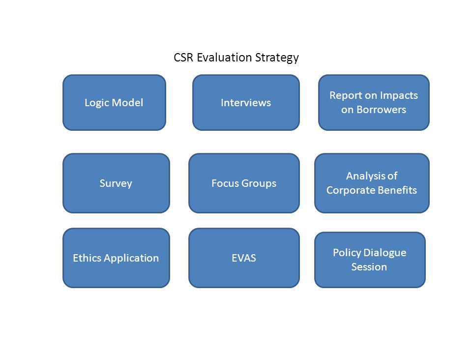 CSR Evaluation Strategy Logic Model Survey Ethics Application Interviews Report on Impacts on Borrowers Focus Groups EVAS Analysis of Corporate Benefits Policy Dialogue Session