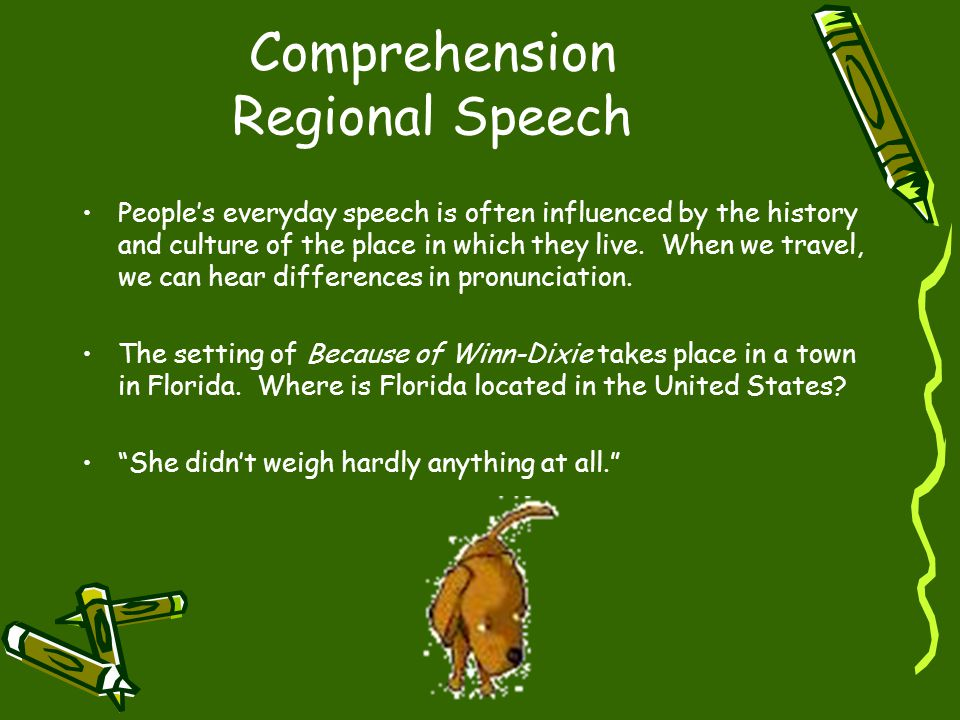 Comprehension Regional Speech People's everyday speech is often influenced by the history and culture of the place in which they live. When we travel,
