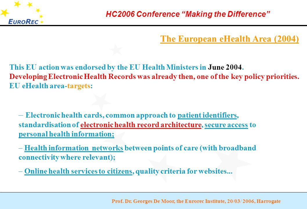 """Prof. Dr. Georges De Moor, the Eurorec Institute, 20/03/ 2006, Harrogate HC2006 Conference """"Making the Difference"""" The European eHealth Area (2004) –"""