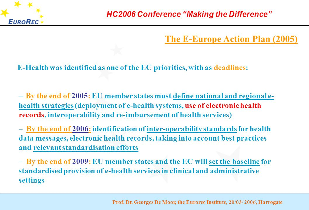 """Prof. Dr. Georges De Moor, the Eurorec Institute, 20/03/ 2006, Harrogate HC2006 Conference """"Making the Difference"""" The E-Europe Action Plan (2005) – B"""