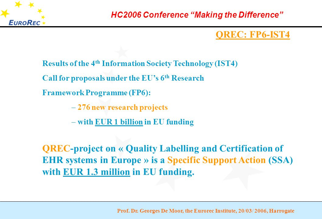 """Prof. Dr. Georges De Moor, the Eurorec Institute, 20/03/ 2006, Harrogate HC2006 Conference """"Making the Difference"""" QREC: FP6-IST4 Results of the 4 th"""