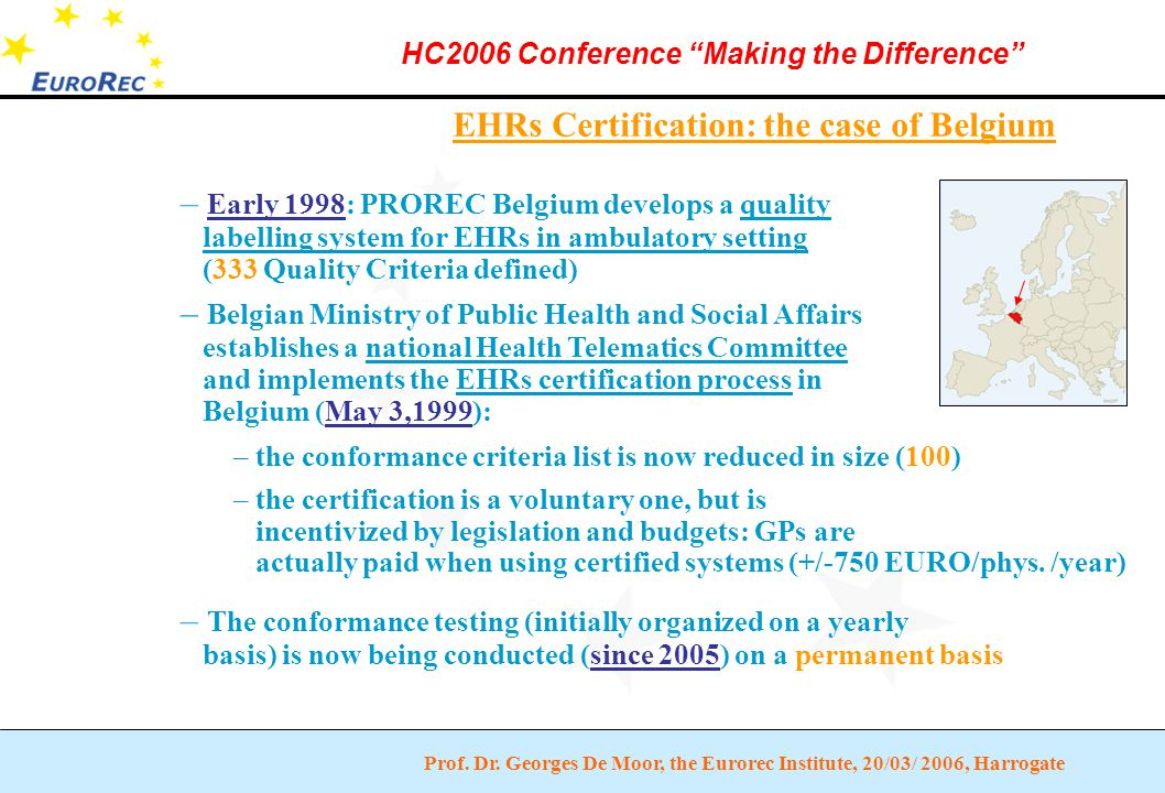 """Prof. Dr. Georges De Moor, the Eurorec Institute, 20/03/ 2006, Harrogate HC2006 Conference """"Making the Difference"""" EHRs Certification: the case of Bel"""