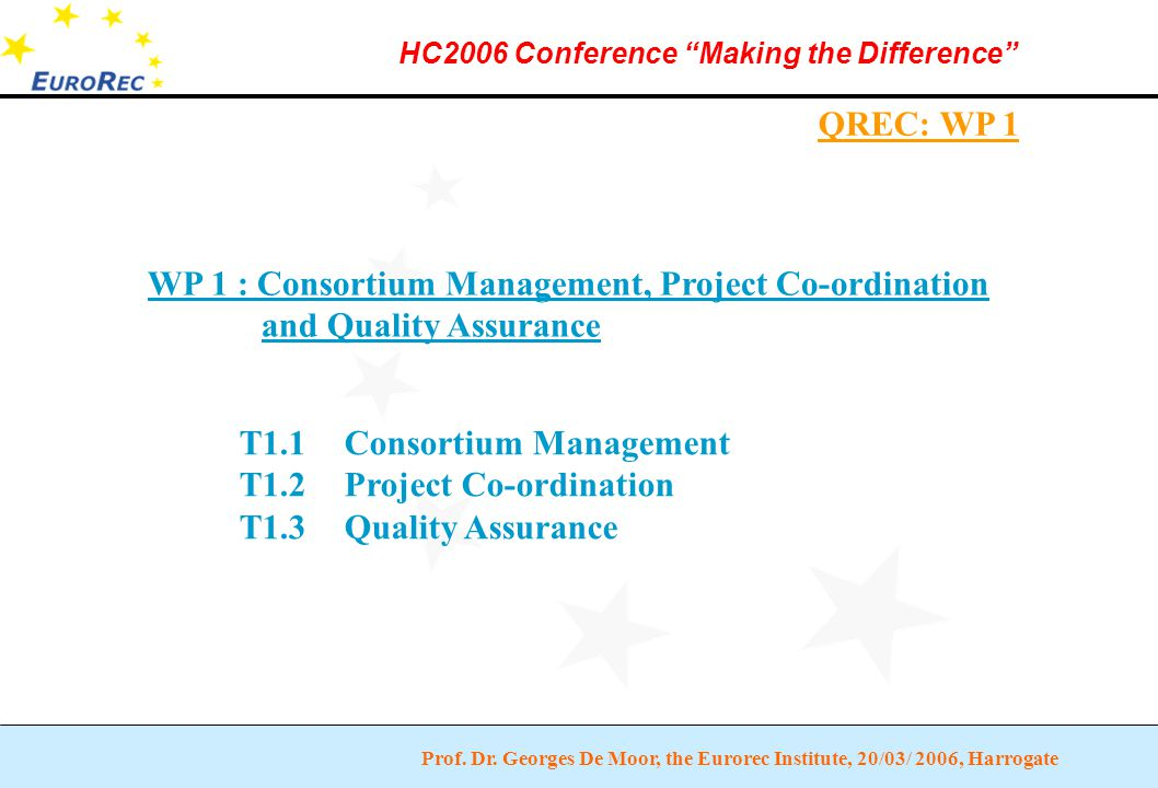 """Prof. Dr. Georges De Moor, the Eurorec Institute, 20/03/ 2006, Harrogate HC2006 Conference """"Making the Difference"""" QREC: WP 1 WP 1 : Consortium Manage"""
