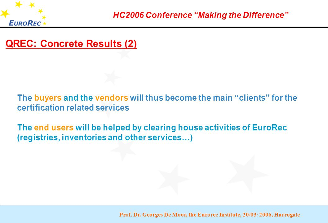 """Prof. Dr. Georges De Moor, the Eurorec Institute, 20/03/ 2006, Harrogate HC2006 Conference """"Making the Difference"""" QREC: Concrete Results (2) The buye"""