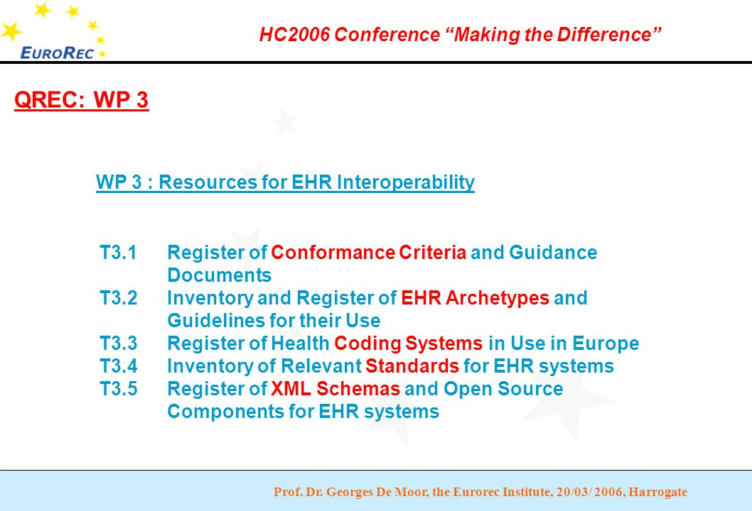 """Prof. Dr. Georges De Moor, the Eurorec Institute, 20/03/ 2006, Harrogate HC2006 Conference """"Making the Difference"""" QREC: WP 3 WP 3 : Resources for EHR"""